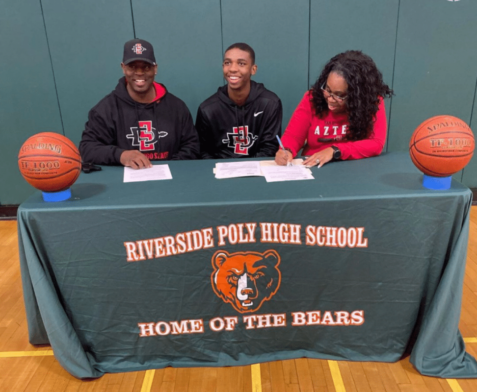 Pro's Vision member Lamont Butler from Riverside Poly High School signs with San Diego state University